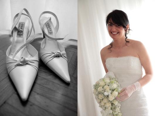 I particolari delle scarpe della sposa